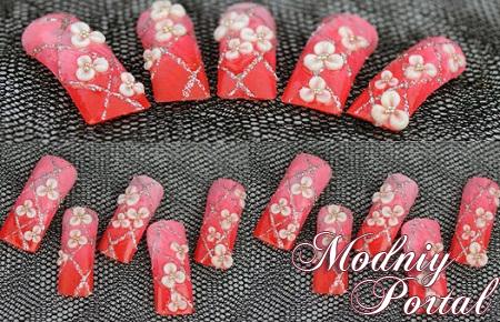 Дизайн акриловыми красками на ногтях фото