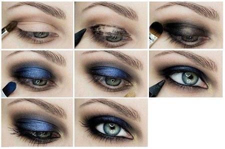 Макияж с голубым цветом 98